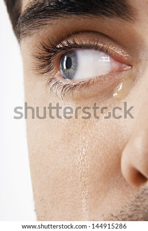 Detailed image of man's eye with tears isolated on white background - stock photo