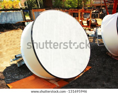 Detailed image of part  communications with a telecommunication antenna - stock photo