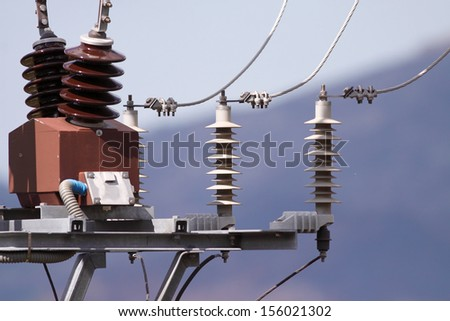 Detailed image of power lines and connections  - stock photo