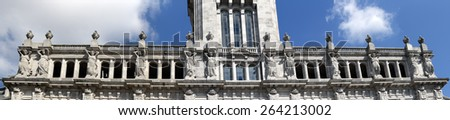 Detailed image of the Porto city hall, Portugal, focusing on granite  girls sculptures - stock photo