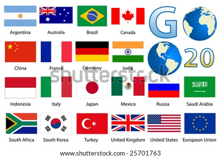 Detailed industrialized country flags and world map manually traced from public domain map - stock photo
