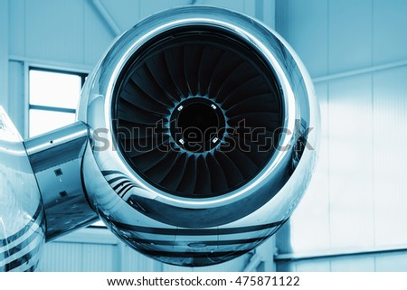 Detailed insigh on turbine blades aircraft, jet engine, colored technical blue