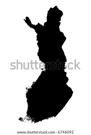Detailed isolated map of Finland, black and white. Mercator Projection.