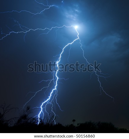 Detailed lightning bolt from cloud-to-ground - stock photo