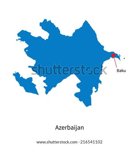 Detailed map of Azerbaijan and capital city Baku - stock photo