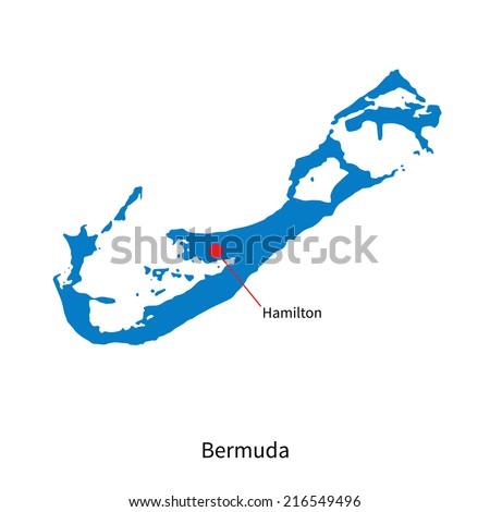 Detailed map of Bermuda and capital city Hamilton - stock photo