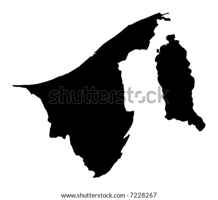 Detailed map of Brunei, black and white. Mercator Projection.