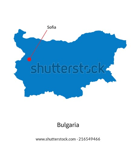 Detailed map of Bulgaria and capital city Sofia - stock photo