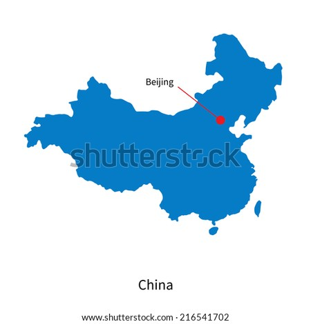 Detailed map of China and capital city Beijing - stock photo