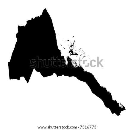 Detailed map of Eritrea, black and white. Mercator Projection.