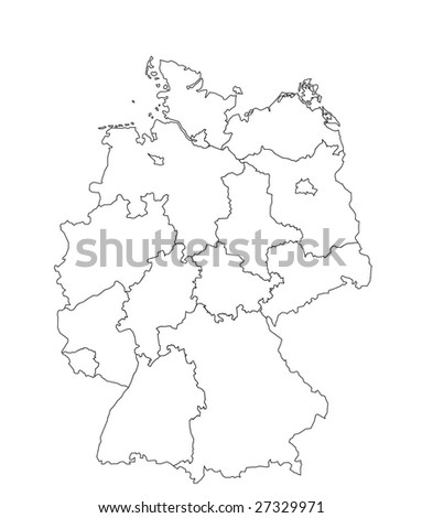 Vector Illustration Map Germany White Background Stock Vector - Germany map drawing