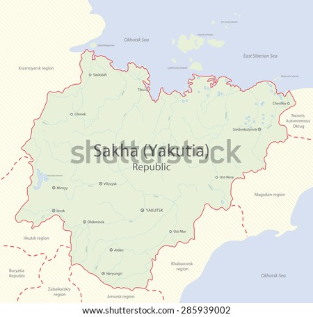 Detailed map of Sakha (Yakutia) Republic, Russia