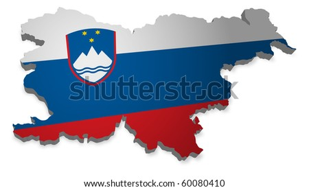 detailed map of slovenia - stock photo