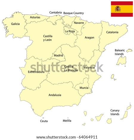 Detailed map of Spain - stock photo