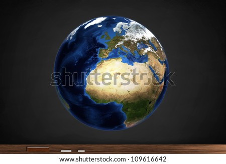 Detailed map of the Earth for study. - stock photo