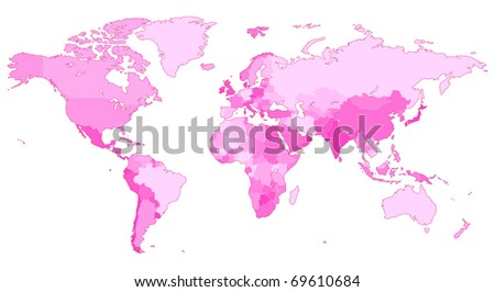 Detailed map of the World with countries in pink colors. Raster version. Vector version is also available. - stock photo