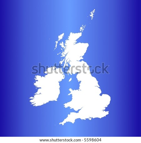 Detailed map of United Kingdom on blue gradient background. - stock photo
