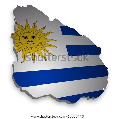detailed map of uruguay - stock photo