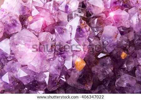 Detailed natural amethyst crystallized structure - stock photo