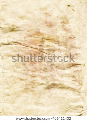 Detailed old brown crumpled paper texture as background.
