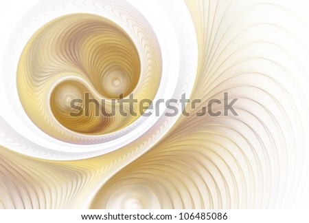 Detailed orange, peach and copper abstract flowing disc on white background - stock photo