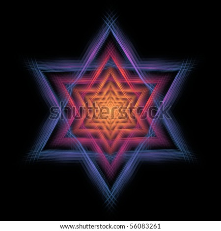 Detailed orange, pink, purple, and blue abstract Star of David design on black background - stock photo