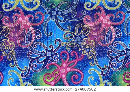 detailed patterns of Borneo Indonesia batik cloth - stock photo