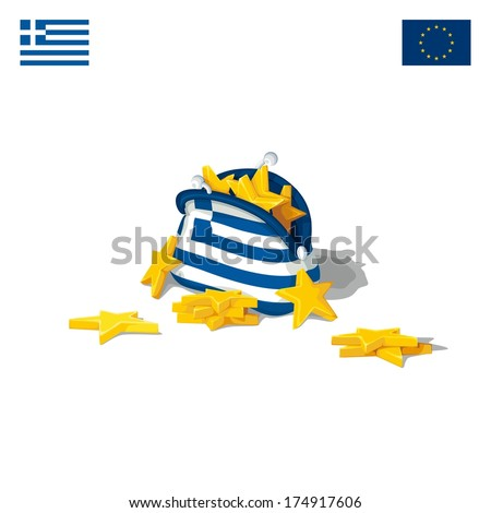 Detailed purse in flag Greece fully packed with stars of the European Union. Raster illustration - stock photo