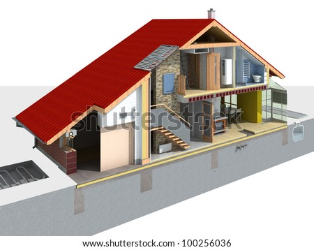 Detailed rendering of a traditional house in a section with visible technology of home infrastructure - stock photo