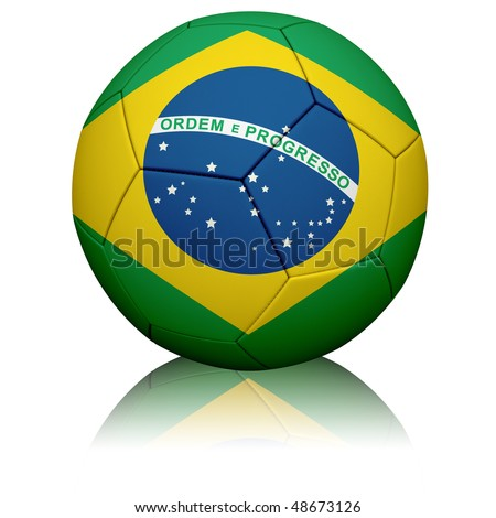 Detailed rendering of the Brazilian flag painted/projected onto a football (soccer ball).  Realistic leather texture with stitching.  Clipping path included.
