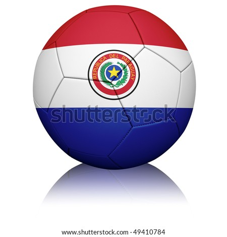 Detailed rendering of the Paraguayan flag painted/projected onto a football (soccer ball).  Realistic leather texture with stitching.  Clipping path included.