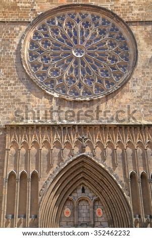 Detailed sculptures decorating Santa Maria del Pi church in Barcelona, Catalonia, Spain - stock photo