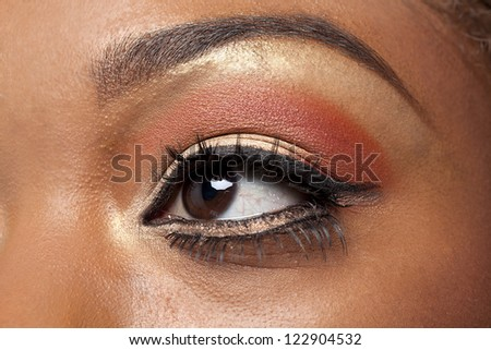 Detailed shot of a woman's eyes with make-up, samara Powder - stock photo