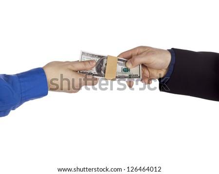 Detailed shot of people holding money bundle against white background. - stock photo