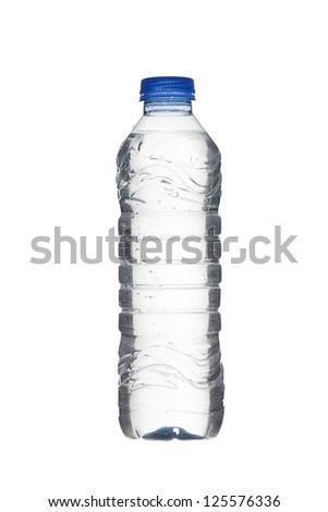 Detailed shot of plastic water bottle on white background. - stock photo