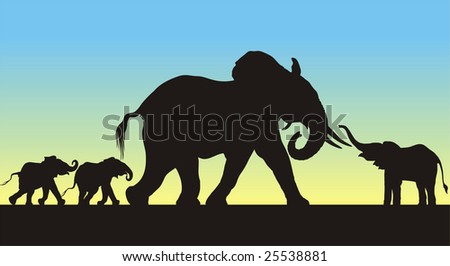 Detailed silhouettes of a mother and three young african elephants. Large format full resolution.