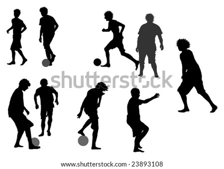 Detailed Silhouettes of Boys playing Soccer