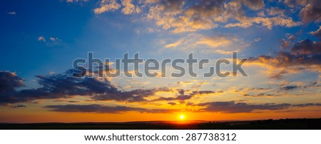 Detailed super high 32 megapixels resolution colorful dramatic sunset panorama stitched from 8 vertical frames - stock photo