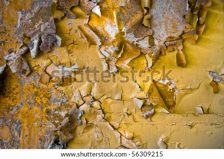 Detailed texture with chipped and peeling paint. - stock photo