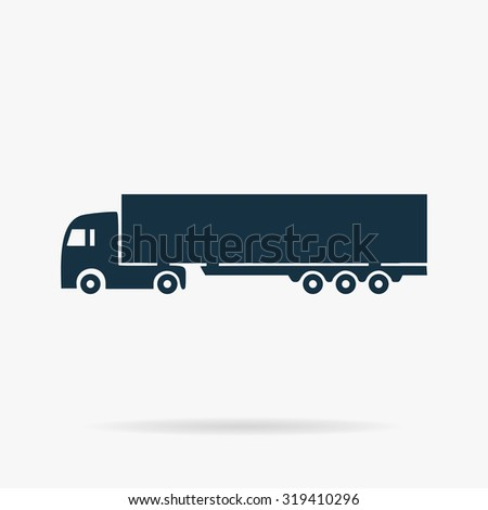 Detailed trucks silhouettes. Flat web icon or sign on grey background with shadow. Collection modern trend concept design style illustration symbol  - stock photo