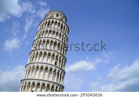 Detailed view from Leaning Tower of Pisa with sky