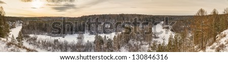 Detailed view of an icy river. - stock photo