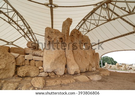 Detailed view of ancient limestone structures of Hagar Qim and Gnajdra Temples in Qrendi, Malta. - stock photo
