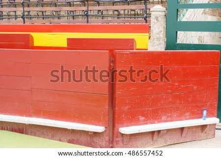 Detailed view of bull plaza wooden wall in spain
