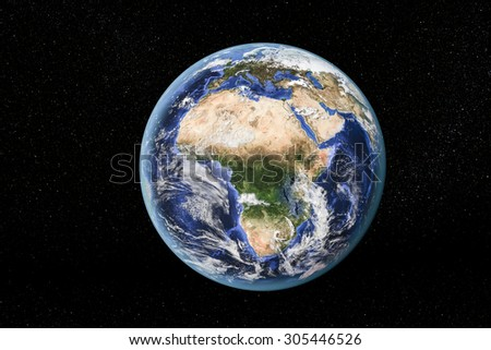 Detailed view of Earth from space, showing Africa. Elements of this image furnished by NASA - stock photo