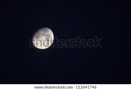Detailed view of moon seen through telescope