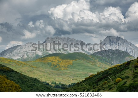 Detailed view of peaks in Picos de Europa mountains, Asturias, Spain