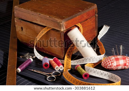 detailed view of some tools tailor in his studio