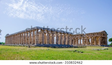 Detailed view of temple of Nettuno situated in ancient ruin complex in Paestum