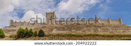 Detailed view of the castle of Peñafiel. Valladolid, Ribera del Duero, Castilla y Leon, Spain - stock photo